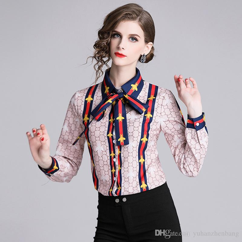 27135e0d6ac1af New Spring Fall Summer Runway Women's Floral Printed Bow Tie Neck ...
