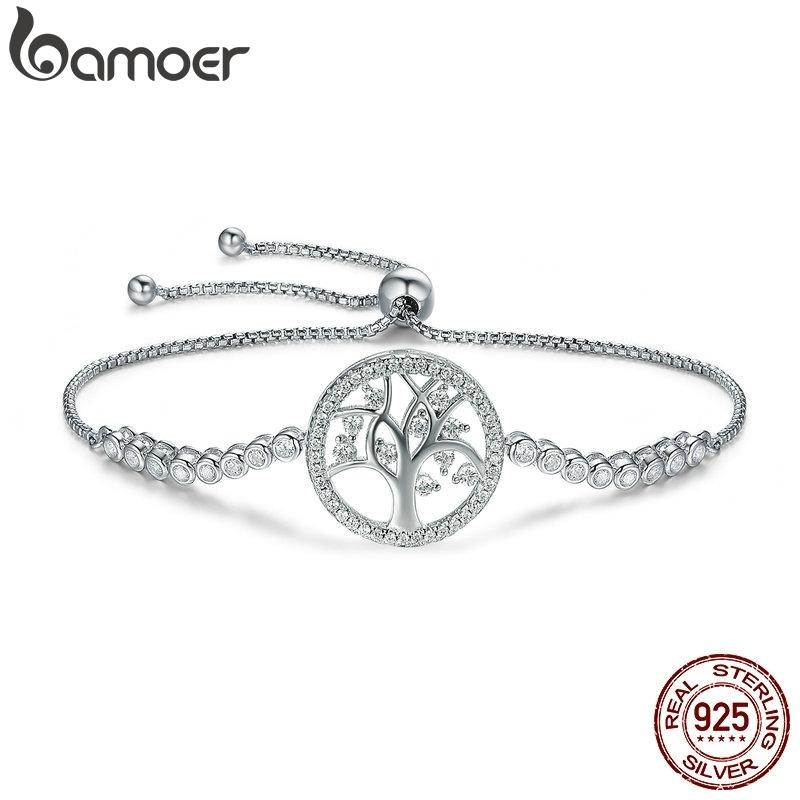 Bamoer Hot Sale 100% 925 Sterling Silver Tree Of Life Tennis Bracelet Women Adjustable Link Chain Bracelet Silver Jewelry Scb035 J190721