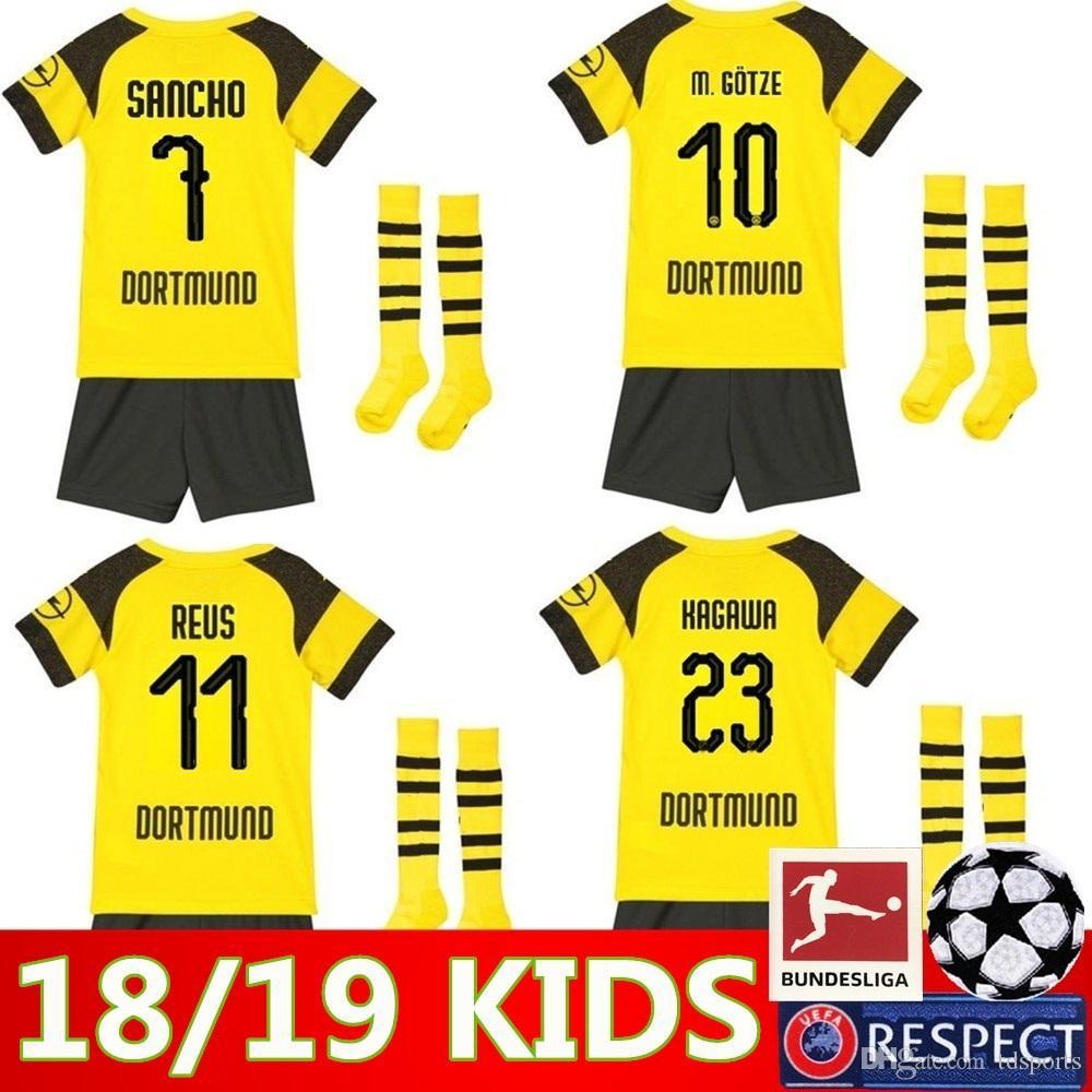 new products 8849c be815 2018 2019 kids kit Borussia Dortmund home soccer jersey uniform 18 19 REUS  PULISIC M.GOTZE WITSEL Dortmund child away BOYS football shirts