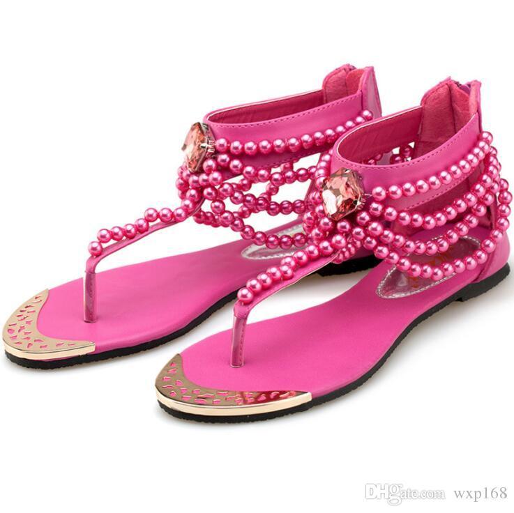 6b92b1e7c9b501 2019 Boho Dress Flat Sandals Women Luxury Beading Rhinestone Strap Lady Flip  Flops Bohemian Summer Beach Shoes 35 40 AAAAA Platform Sandals Wedges Shoes  ...
