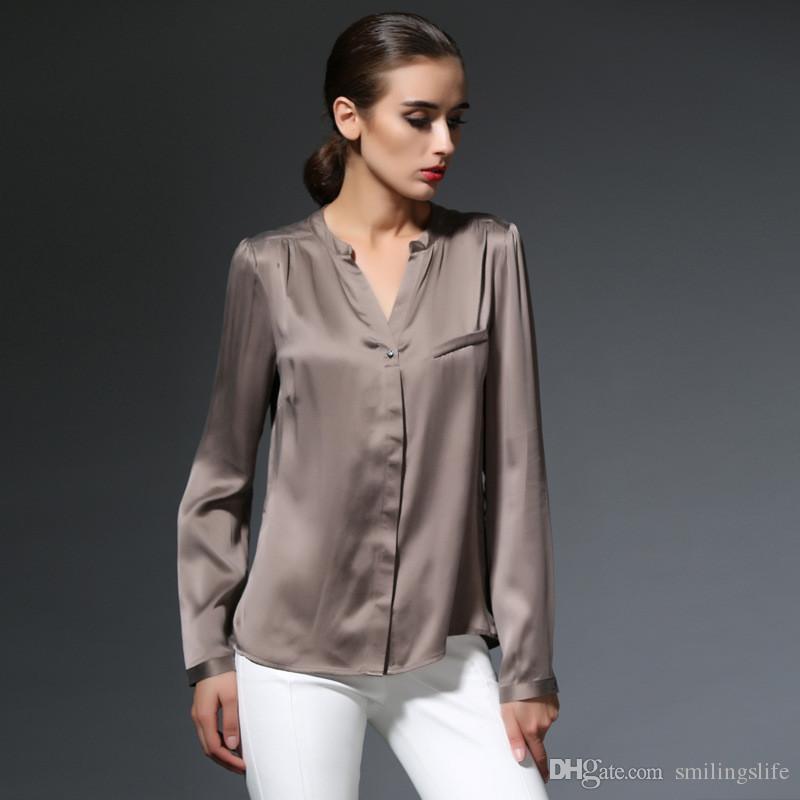 088d9814a10eef 2019 Women Silk Blouses Temperament Long Sleeve Fashion Women Shirt High  Fashion Silk Satin Blouse Double Cuffs Round Neck Cardigan From  Smilingslife, ...