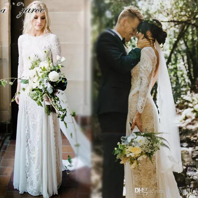 Discount Western Country Bohemian Wedding Dresses Long Sleeve Vintage  French Lace Boho Wedding Dress Open Back Bridal Dresses Vestido De Noiva  Affordable ... feffaefc38e5