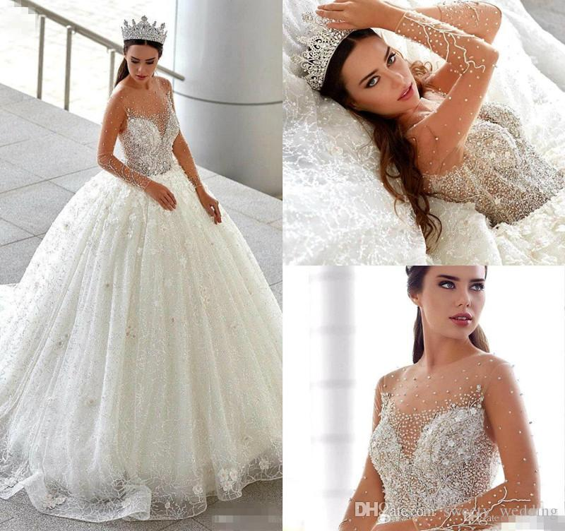 4282932ce6 Luxury Long Sleeves Lace Ball Gown Wedding Dresses 2019 Beaded 3D Floral  Appliqued Arabic Bridal Gowns Plus Size Country Wedding Dress