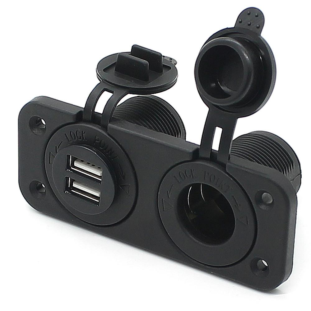 Dual USB Charger and Socket Panel Mount Marine 12 Volt Power Outlet qi car charger car adapter fast universal mobile N