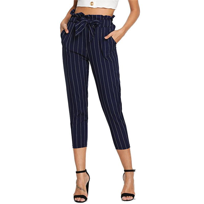 2b43e4d9dce1e 2019 Navy Workwear High Waist Pants Striped Frill Ruffle Waist Self Tie  Pants Capri Women 2018 Autumn Belted Casual Harem From Pulchritude