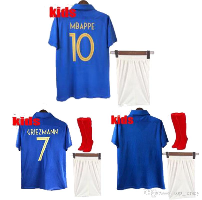 25ab6b9a31f 2019 New 100th Anniversary Kids Blue Two 2 Stars Equipment Equipe De France  Mbappe Youth Child Shirts Football Kids Soccer Jerseys 2019 From  Top_jersey, ...