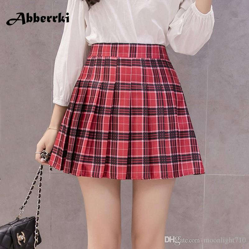 b6c3993f5 Las mujeres del estilo coreano cremallera cintura alta falda niña de la  escuela faldas plisado falda a cuadros sexy mini falda roja jupe femme