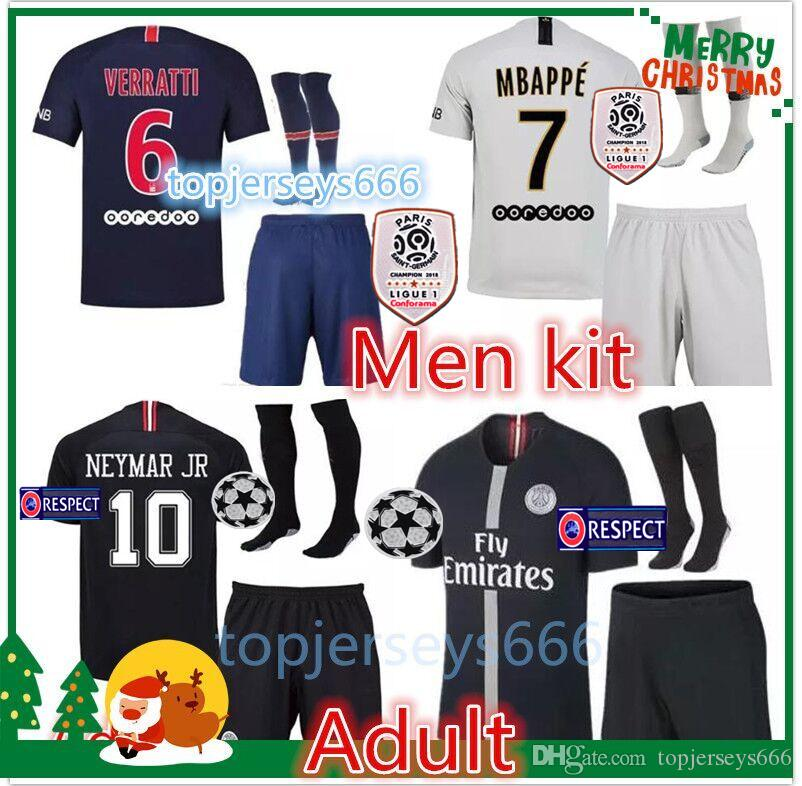 pretty nice 33d8e 12833 Psg soccer jersey 2018-2019 Adult Paris Champions League MBAPPE jerseys set  18 19 psg football shirt kit