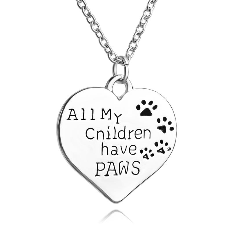 All My Children Have Paws Letter engraved Chain necklace Pet Lover Dog cat  Paw Print Tag Silver Heart Pendant Necklace children 3059