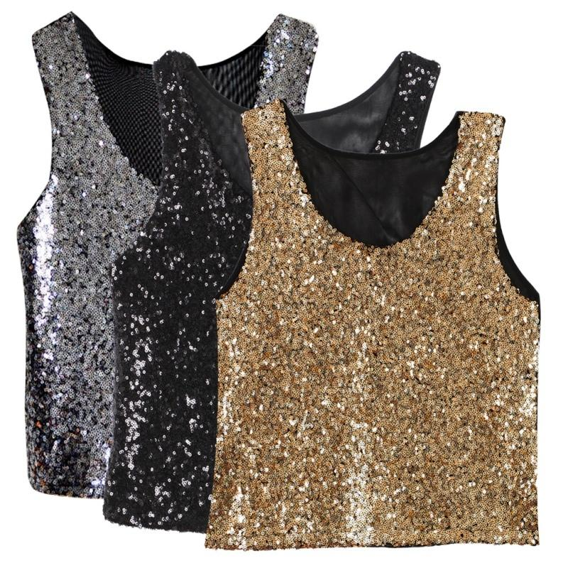 cb2da09df Fashion Women Summer Sleeveless Camisole Crop Blouse Tops Party Sequins  Shirt Online with $28.48/Piece on Bibei09's Store | DHgate.com