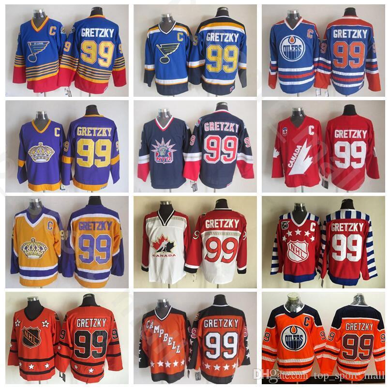 12901b5fa 2019 Vintage 99 Wayne Gretzky Jersey Men Ice Hockey New York Rangers St.  Louis Blues LA Los Angeles Kings Edmonton Oilers Blue Black White From ...