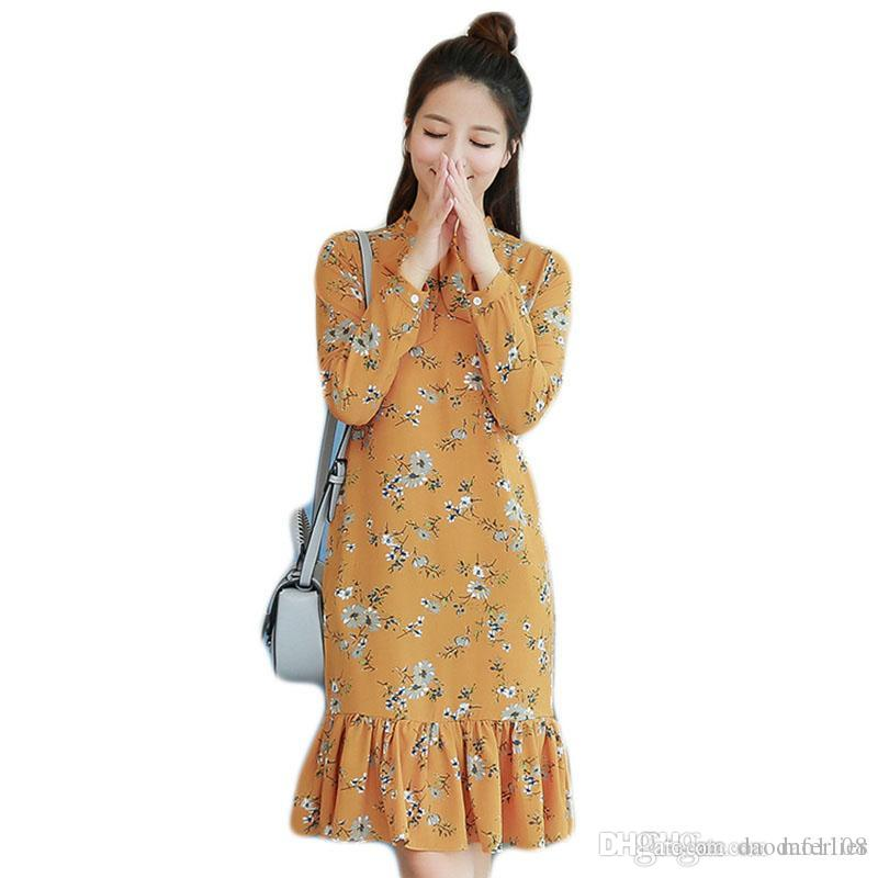 534b72160f848 2018Spring dress for women A line Stand neck Floral print Long sleeve  dresses Size S-2xL