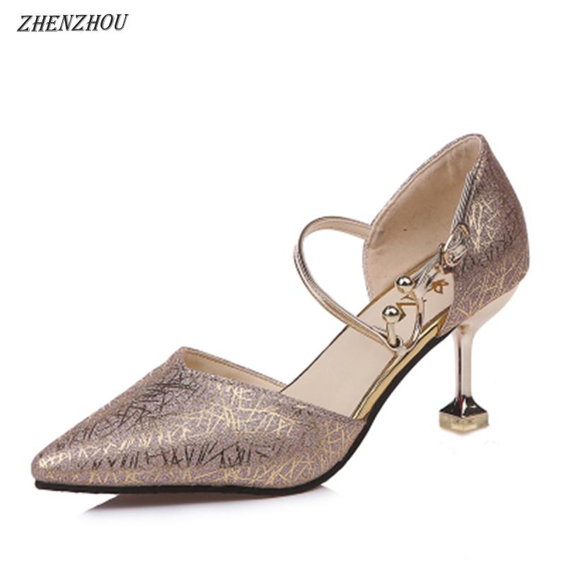 Designer Dress Shoes ZHENZHOU 2019 summer and spring Crystal wedding sequins High heels Fine with bride Pointed bridesmaids singles
