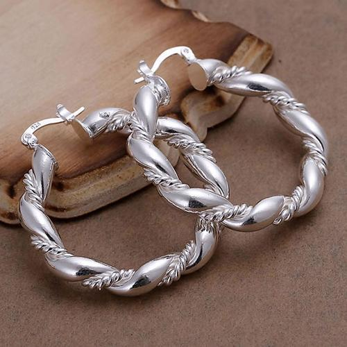 Women's Classic Vintage Waved Silver Plated Twisted Dangle Punk Hoop Earrings new