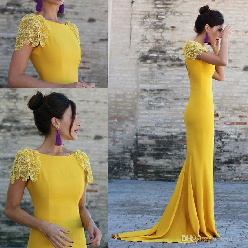 Sexy Elegant Women Formal Gala Evening Dress Mermaid Arabic Yellow Short Sleeve Long Evening Prom Dresses Gown 2020 New