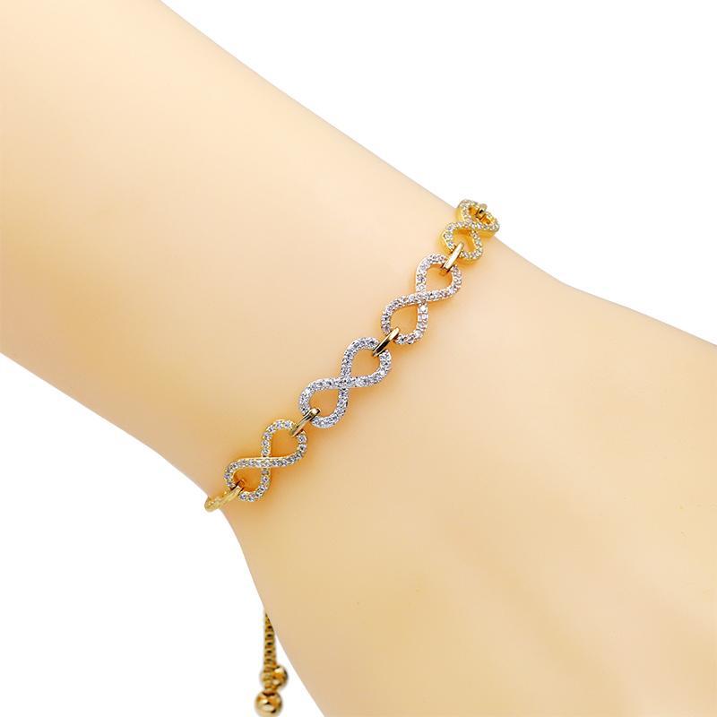 WEIMANJINGDIAN Marque Cubic Zirconia Cristal CZ Infinity Bracelets Réglables Bolo pour Femmes ou Mariage en Argent / Or Couleurs