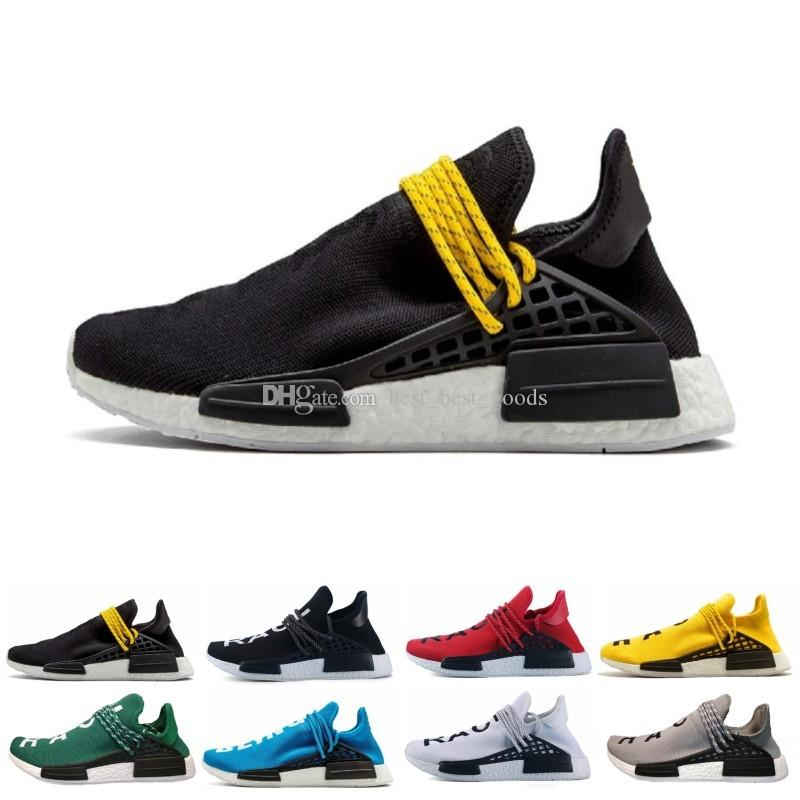 Human Race trail Running Shoes Men Women Pharrell Williams HU Runner Yellow Black White Red Green Grey blue sport runner sneaker