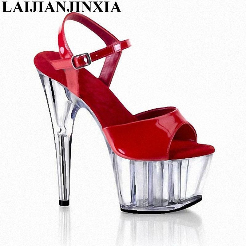 e38126169 Compre Atacado New Red Brilhante Ankle Strap 15 Cm De Salto Alto Sapatos De  Plataforma Aberta Toe Sapatos Da Mulher Modas 2018 Novas Sandálias De Verão  De ...