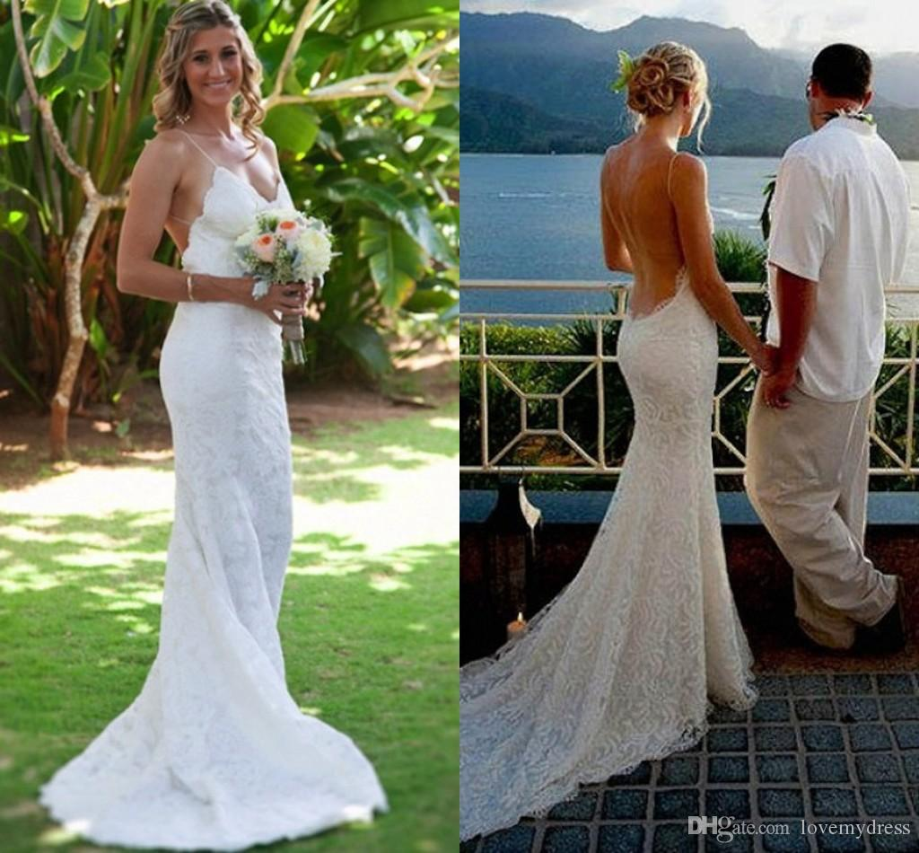 f8fd9c37ab0b Sexy Open Back Beach Wedding Dresses Lace Spaghetti V Neck Bridal Gowns  Plus Size Wedding Party Dress Vestidos De Novia Beautiful Lace Wedding  Dresses ...