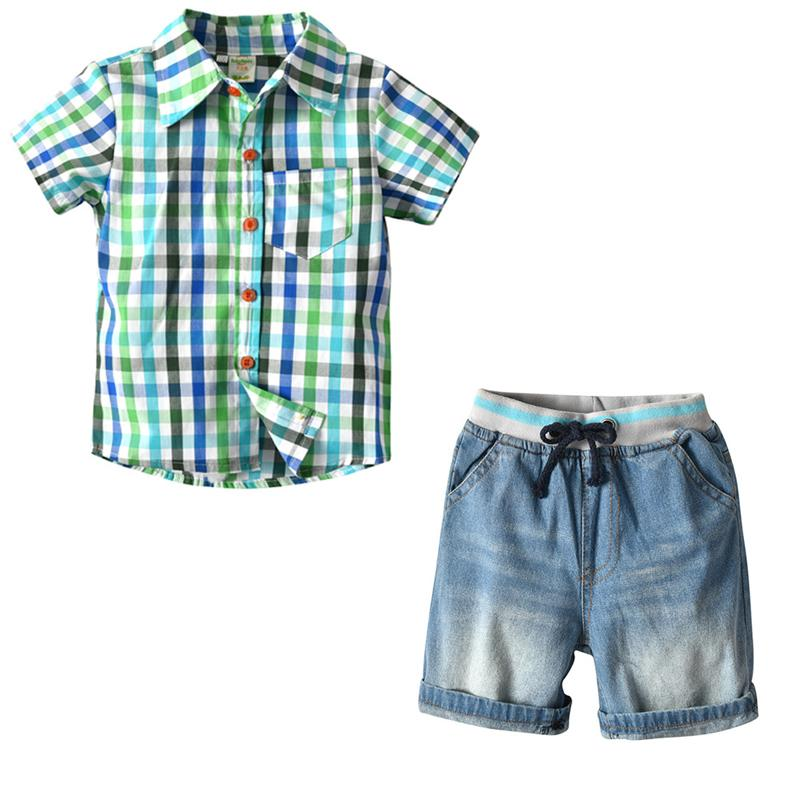 f94584ff1150 2019 Toddler Boys Clothes Set Plaid Shirt + Denim Shorts Children S ...