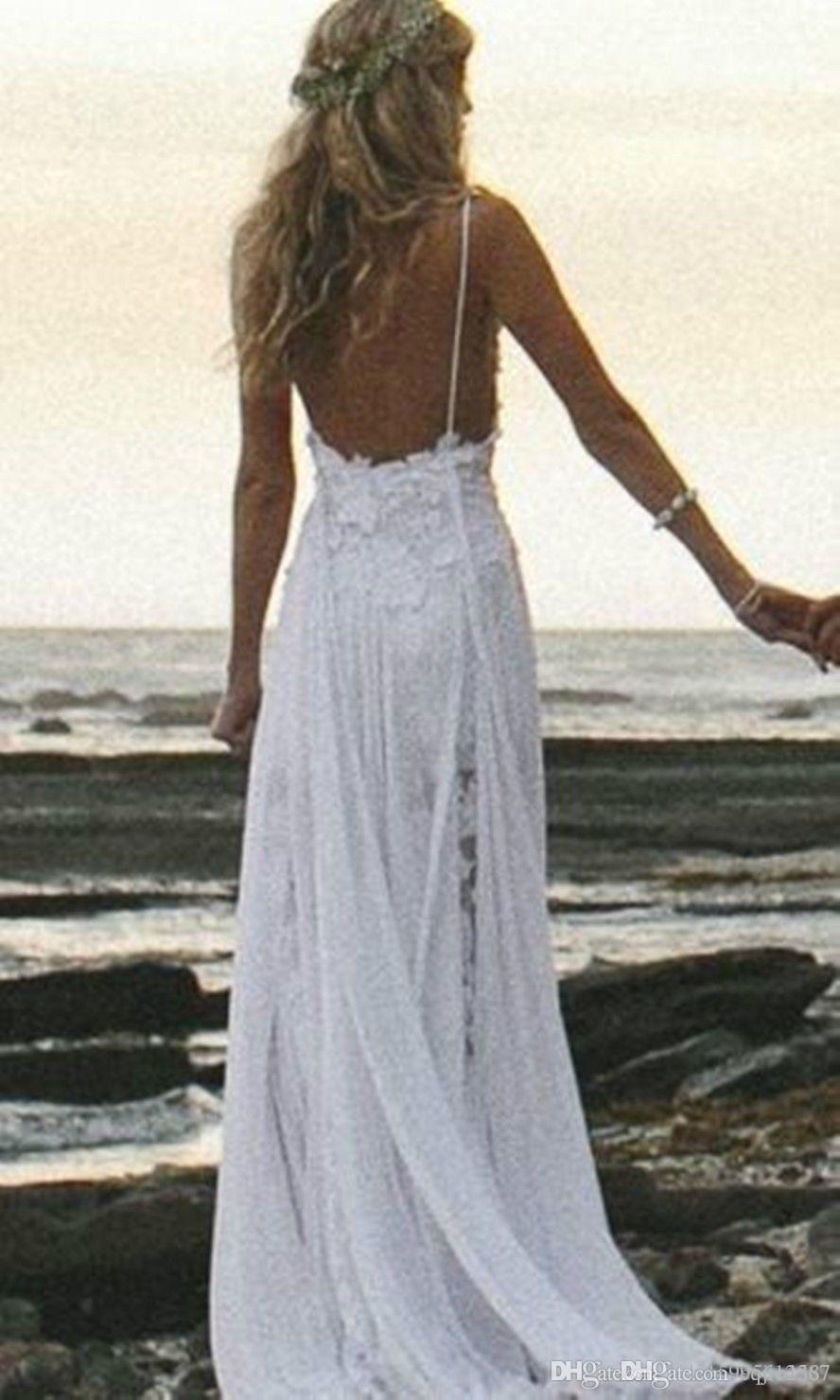 2019 New Sexy Beach Wedding Dresses Spaghetti Straps Appliques Low Back Lace Wedding Dress Summer Bohemian Wedding Bridal Gown