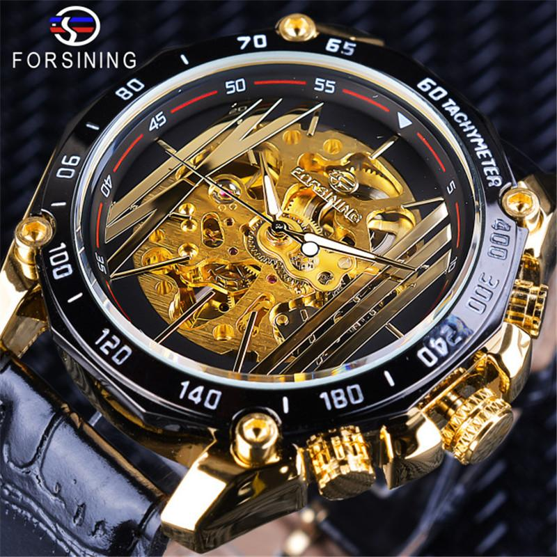 FORSINING Brand Luxury Mens Automatic Watches Men Creative Skeleton Mechanical Watches Male Stainless Steel Bracelet Clock SLZe129