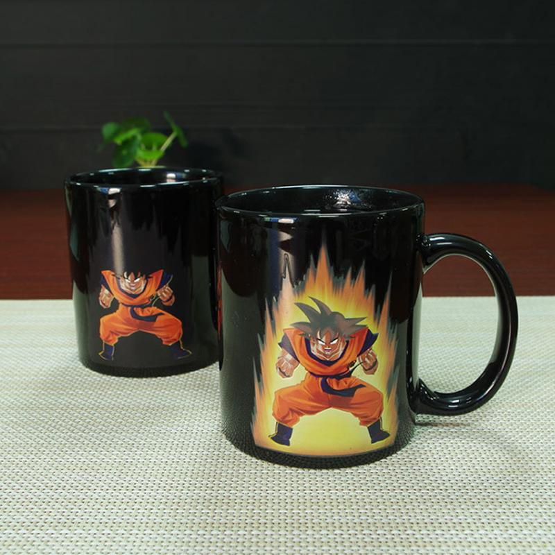 Promotion Dragon Ball Color Change Ceramic Mug Goku Cartoon Novelty Heat Reactive Coffee Cup Colored Changing Magic Cups