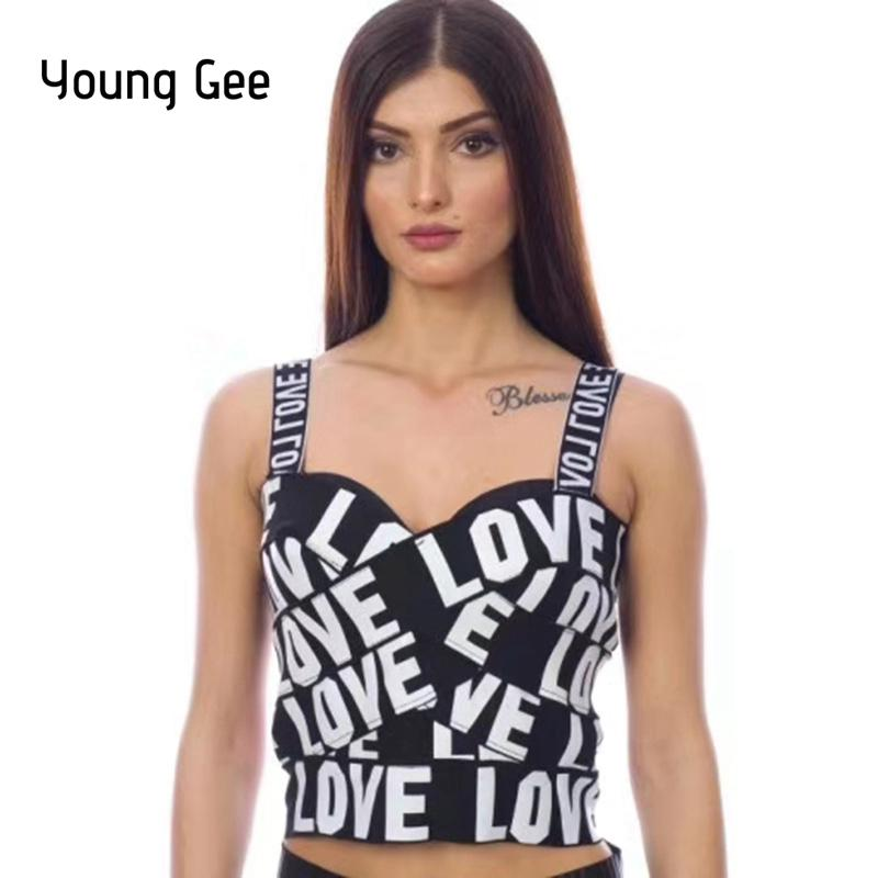 c8ee43ebde949 Young Gee Love Print Black Tank Tops Cropped Women All-matched Bustier Crop  Top Short Mini Tight Bandage Vest Female StreetwearQ190330