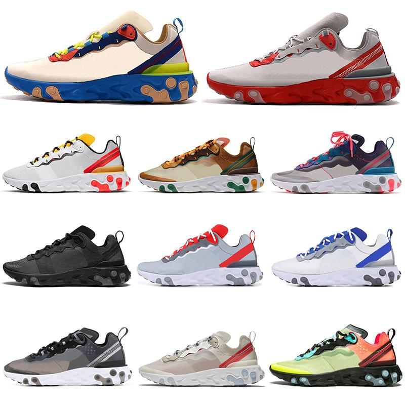 2019 React Element 55 87 Tour Yellow Running Shoes Men Women Orange Peel Triple Black White Sail Cream Blue Mens Trainers Sports Sneakers