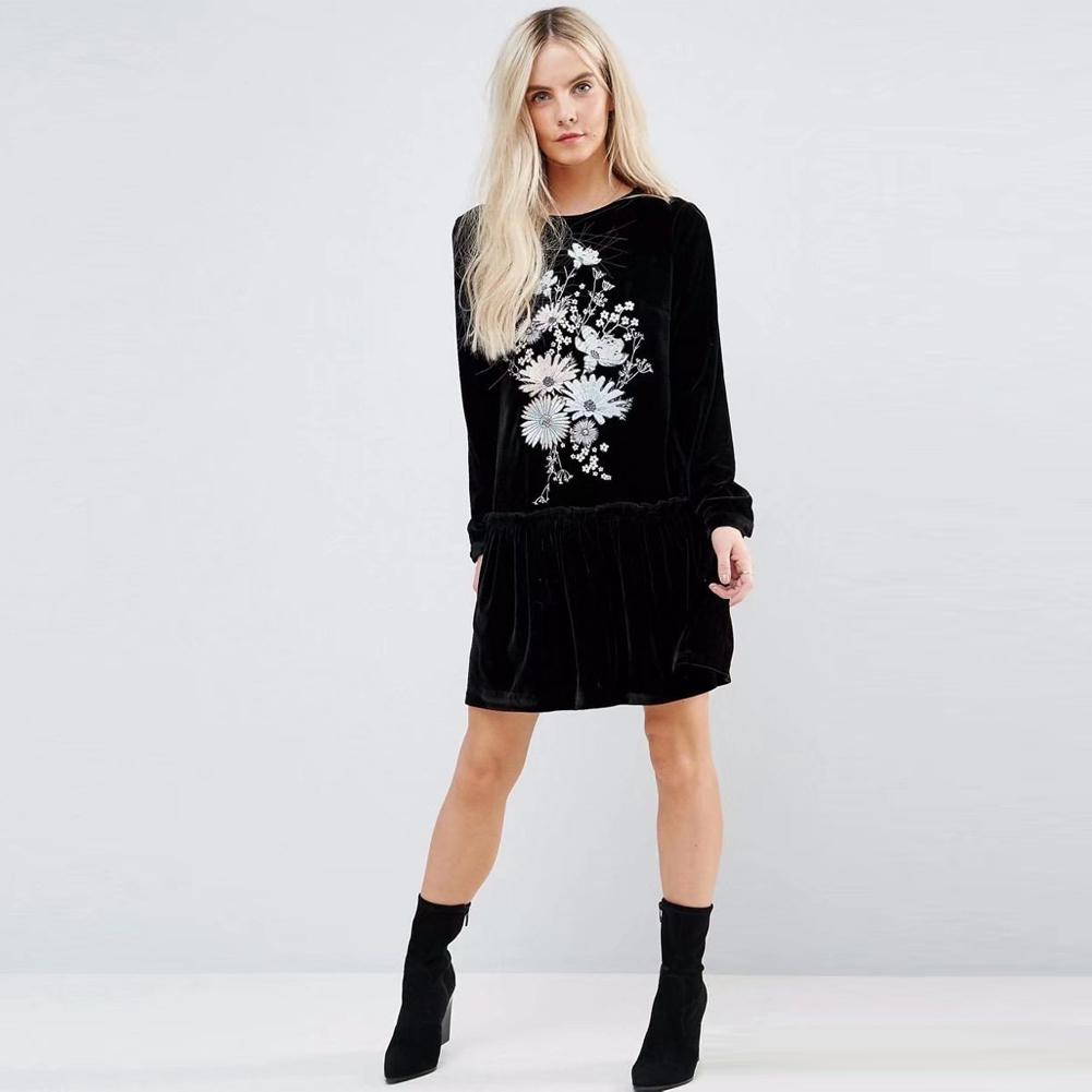 57bc309aeb Black Floral Embroidered Long Sleeve Dress
