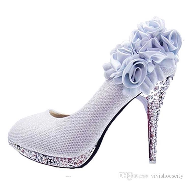 9ed210302ff Sexy High Heels Shoes Size 34 To 41 Silver Flower Wedding Bridal Shoes  Cheap Shoes For Women Brown Shoes From Vivishoescity