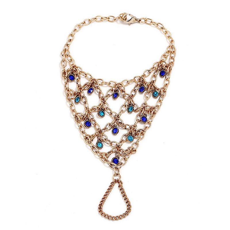 NADEEM Gold Color Multilayers Chain Tassel Women's Bracelet Bangle Slave Finger Ring Women Crystal Hand Harness Bracelet Jewelry