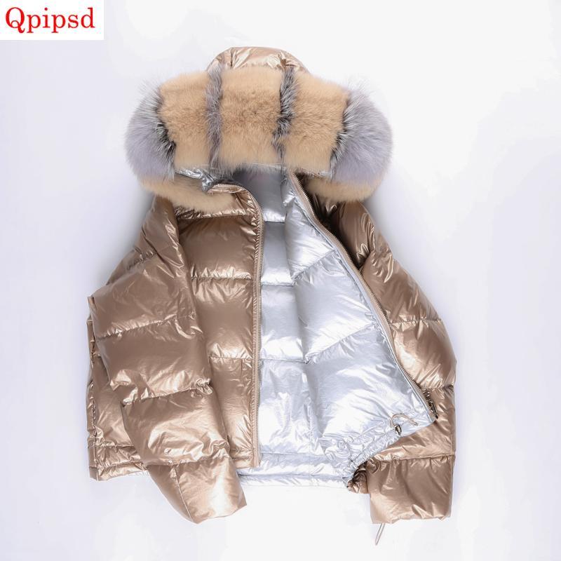 superior quality 8b194 4773f Piumini invernali corta da donna 2019 moda volpe grande collo di pelliccia  giù giacche donna rosa giacche da donna con cappuccio caldo giacche