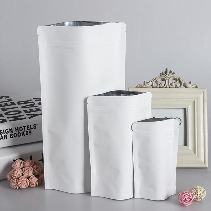 100pcs/lot Stand up White Paper Ziplock Bags Resealable Biscuit Nuts Coffee Packaging Storage Pouch Party Wedding Gift Bags