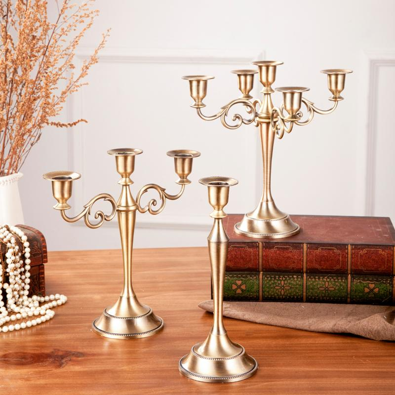 Wedding Party Table Decoration Gold Candlestick Black Bronze Candelabra Centerpieces Europe Style Home Decor Candle Holders