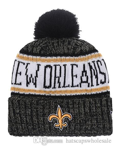 65f21a43539 2019 Winter Hip Hop Hats Saints Beanie Stripes Sideline Cold Weather Sport Knit  Hat Wool Bonnet Warm Official Reverse Cap Beanie From Hatscapswholesale