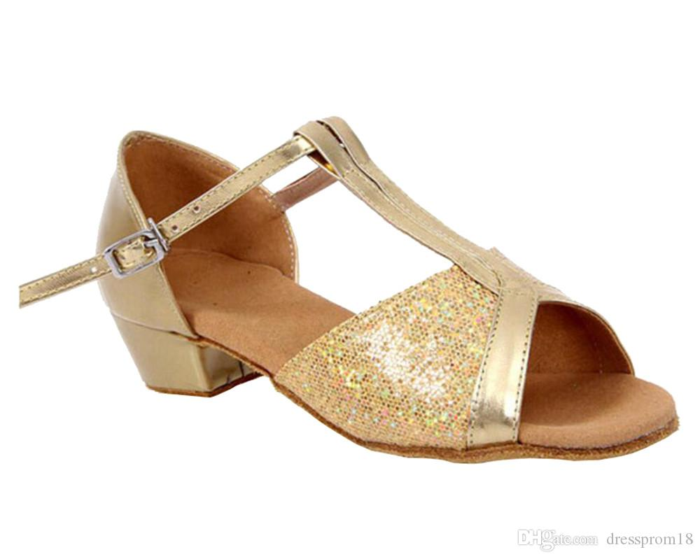 Girls T-strap Glittering Latin Performance Dance Shoes Ballroom Suede Sole  Tango Chacha Salsa Shoes Peep Toe Sparkly Flower Girl Sandals Girls Latin  Dance ... e2da0bbb4c1a