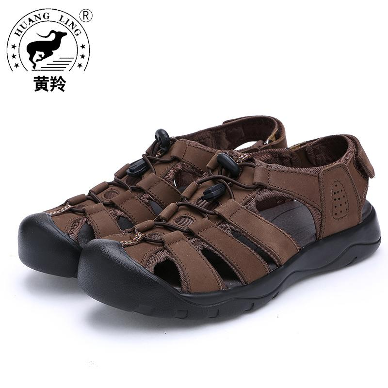 81762aef7 HUANGLING 2017 Men Sandals Genuine Leather Sandal Real Summer New ...