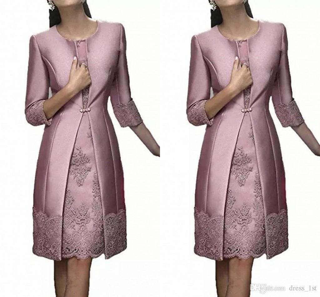 Elegant 2018 Mother of The Bride Evening Dresses with Long Jacket Sheath Knee Length Dusty Purple Siver Grey Santin and Lace Wedding Dresses