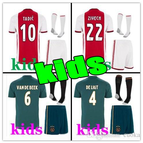 e2186a673 2019 2020 Ajax FC Soccer Jerseys Kits Para Niños En Casa 19 20  Personalizado   7 NERES   10 TADIC   4 DE LIGT   22 Camiseta De Fútbol  ZIYECH Por Euoka