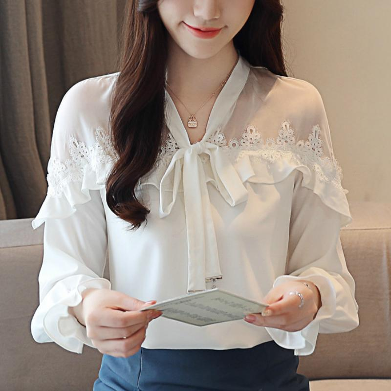 436aac20140 2019 Fashion Women Blouses 2019 White Blouse Women Chiffon Blouse Shirt  Long Sleeve Shirts Womens Tops And Blouses Blusas A945 From Aqueen, $23.44  | DHgate.
