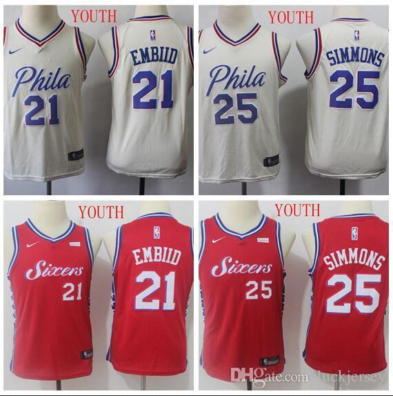 cheap for discount 398d0 5440e Men's Philadelphia Joel 76ers 21 Embiid 25 Simons Red White Swingman Jersey  Statement Edition