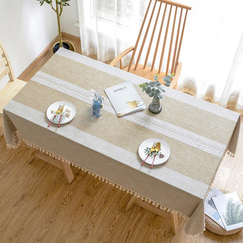 Simple embroidery lace cotton linen small fresh cloth tablecloth Nordic Japanese striped tassel table mat table cloth