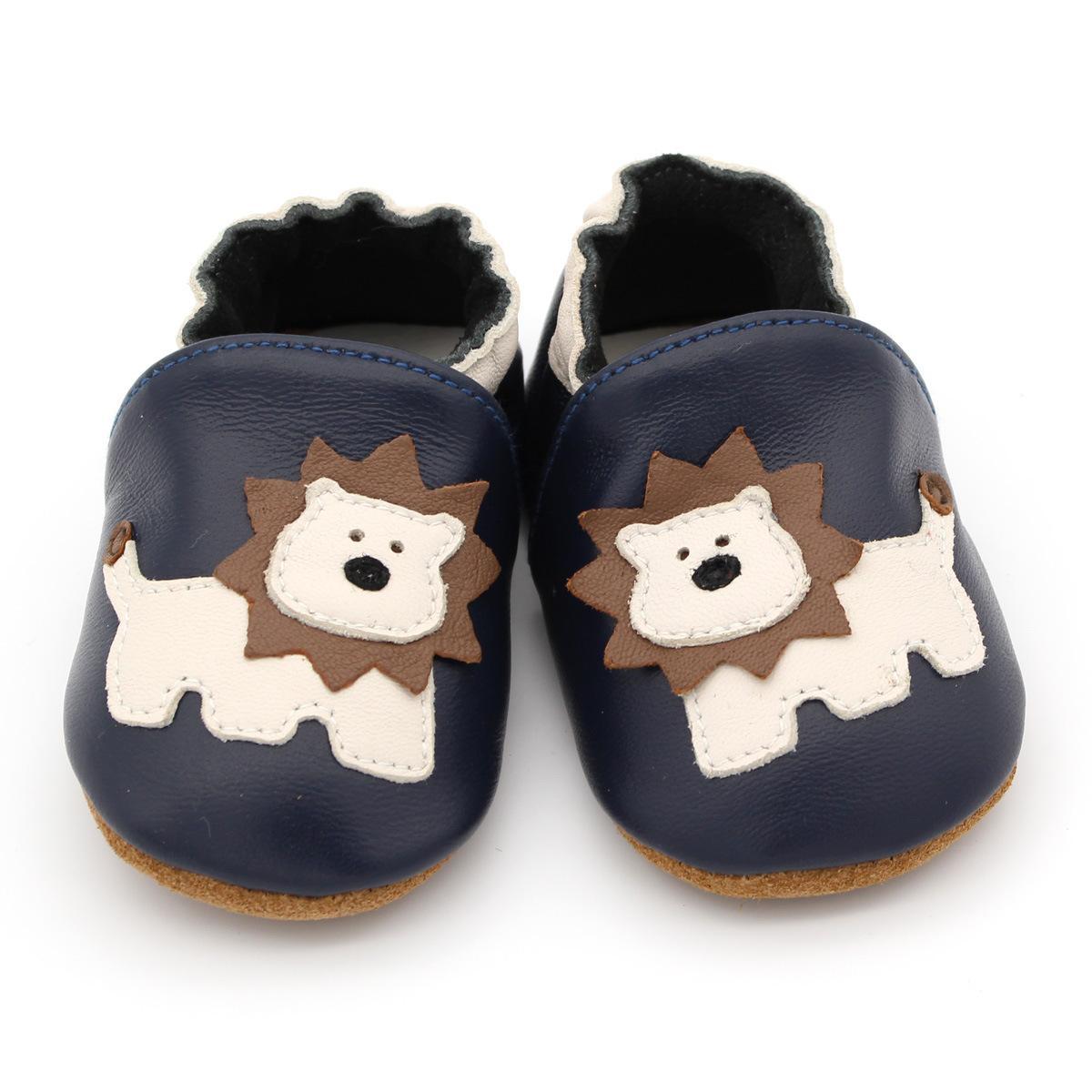 Neonato ragazza del neonato suola molle pattini della greppia neonati graziosi bambini Lion scarpe di cuoio Primi camminatori più piccoli prewalker Dark Blue