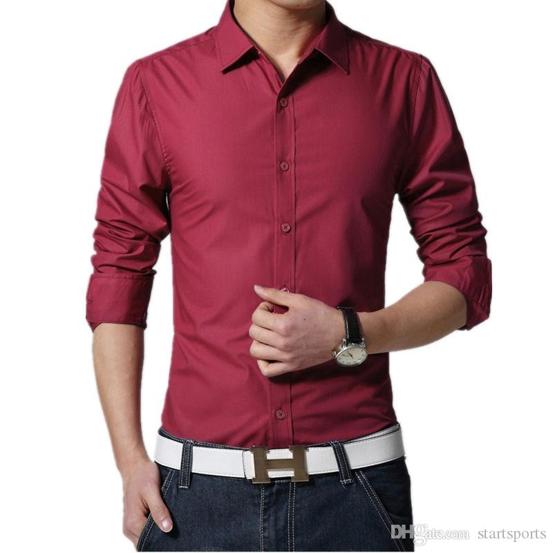 a0be79b1517 2019 2017 New Brand Mens Dress Shirt Casual Slim Fit Long Sleeve Formal  Business Mens Shirts Camisa Social Work Office Wear  388887 From  Startsports