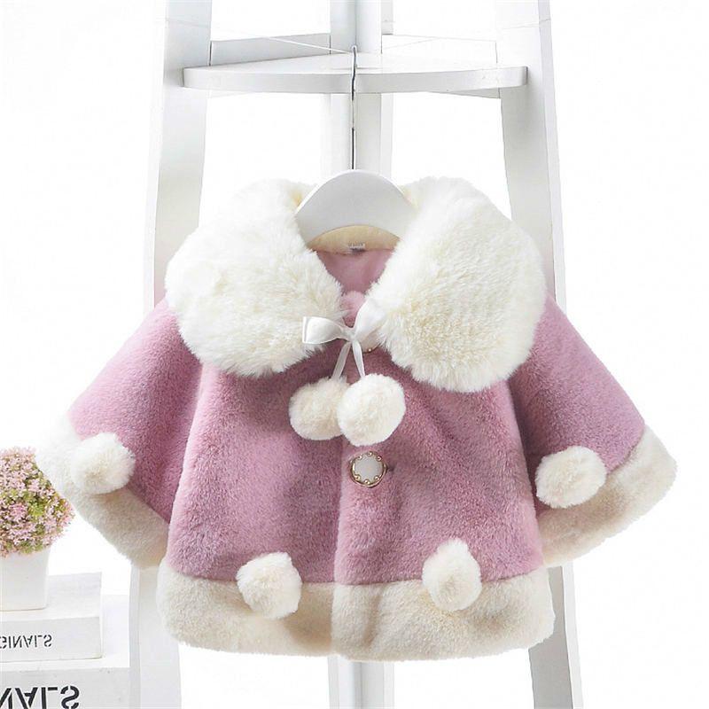 2019 factory price great variety styles best Baby Winter Newborn Fashion Thickening Imitation Rabbit Fur Cape Coat  Suitable For Girls Warm Sweatshirt Snow Clothes