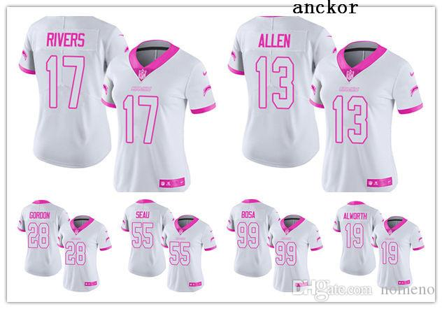 newest 05f74 c7853 Los Angeles MEN WOMEN YOUTH 28 Melvin Gordon 17 Philip Rivers Limited  Jersey Football Chargers White Pink Rush Fashion