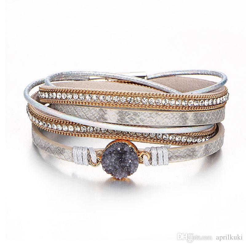 e1be1359f7a18 Western New Fashion Alloy Leather Multilayer Double Wrap Bracelet with  Rhinestone Magnet Clasp Bangles&Bracelet for Women