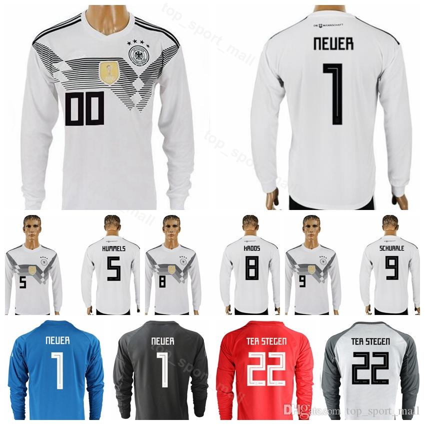 7c14d05d36b3 2019 2018 World Cup Long Sleeve Germany Soccer Jersey 8 KROOS 14 GORETZKA  21 GUNDOGAN 1 NEUER Football Shirt Kits Uniform 5 HUMMELS WERNER From ...
