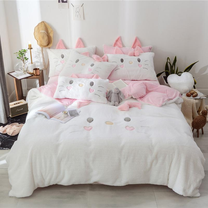 White Pink Gray Winter Thick Flannel Lovely Cat Bowknot Girl Bedding